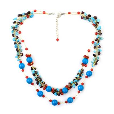Multi-Gemstone Calcite Beaded Necklace from Thailand