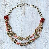 Multi-gemstone beaded necklace, 'Flawless Fruit in Scarlet' - Multi-Gemstone Carnelian Beaded Necklace from Thailand