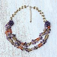 Multi-gemstone beaded necklace, 'Flawless Fruit in Purple'