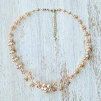 Cultured pearl beaded necklace, 'Pink Cherry Blossom' - Cultured Pearl and Glass Beaded Necklace from Thailand