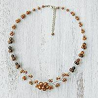 Cultured pearl and tiger's eye beaded necklace, 'Gleaming Cherry Blossom' - Cultured Pearl and Tiger's Eye Beaded Necklace from Thailand