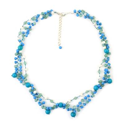 Blue Multi-Gemstone Beaded Necklace from Thailand