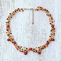 Multi-gemstone beaded necklace, 'Succulent Garden in Red-Orange'