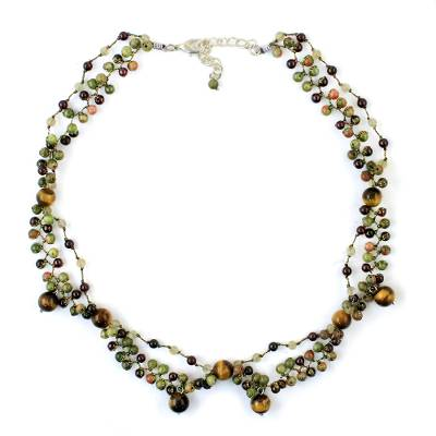 Earthy Multi-Gemstone Beaded Necklace from Thailand