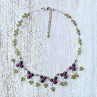 Multi-gemstone waterfall necklace, 'Chiang Mai Blossom' - Green Multi-Gemstone Waterfall Necklace from Thailand