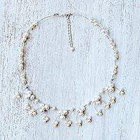 Cultured pearl waterfall necklace, 'Chiang Mai Blossom' - Cultured Pearl Beaded Waterfall Necklace from Thailand