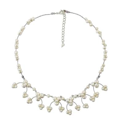 Cultured Pearl Beaded Waterfall Necklace from Thailand