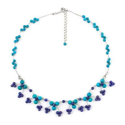 Calcite and Lapis Lazuli Waterfall Necklace from Thailand