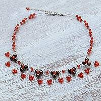 Carnelian and cultured pearl waterfall necklace, 'Chiang Mai Blossom' - Carnelian and Pearl Waterfall Necklace from Thailand