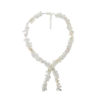 Quartz and cultured pearl lariat necklace, 'Clear Mind' - Quartz and Cultured Pearl Lariat Necklace from Thailand