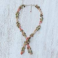 Cultured pearl and unakite lariat necklace, 'Intelligent Mind' - Cultured Pearl and Unakite Lariat Necklace from Thailand
