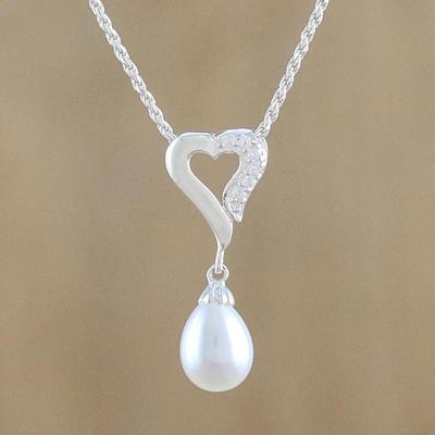 Cultured pearl and cubic zirconia pendant necklace cozy heart novica cultured pearl pendant necklace cozy heart cultured pearl and cubic zirconia pendant aloadofball Images