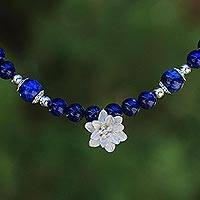 Lapis lazuli beaded pendant necklace, 'Sophisticated Lily' - Lapis Lazuli Beaded Necklace with Karen Silver Lily Pendant