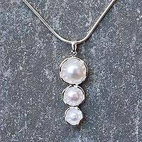 Cultured freshwater pearl pendant necklace, 'Wellspring' - Cultured Pearl and Sterling Silver Pendant Necklace
