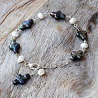 Cultured pearl link bracelet, 'Fathomless Sea' - Black and White Cultured Pearls Cross Link Bracelet