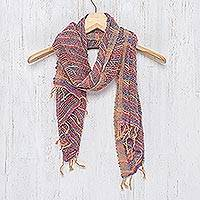 Cotton scarf, 'Charming Candy' - Handwoven Cotton Scarf with Candy Colors from Thailand