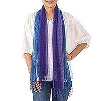 Cotton scarf, 'Iris Mood'