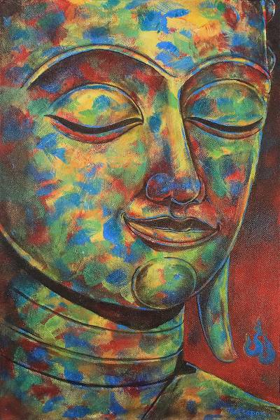 Colorful Thai Expressionist Painting of Buddha