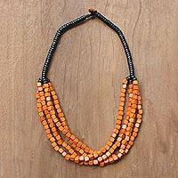 Beaded torsade necklace, 'Orange Squared' - Black and Orange Cube Boxwood Beaded Torsade Necklace