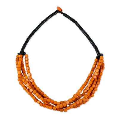 Beaded torsade necklace, 'Orange Squared' - Black and Orange Cube Boxwood Beaded Torsade Necklace