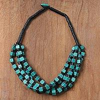Wood beaded torsade necklace, 'Teal Elegance Squared' - Teal and Black Boxwood Cube Beaded Torsade Necklace