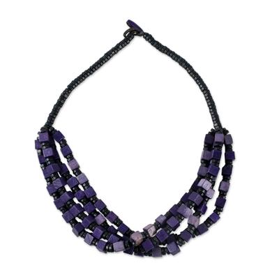 Wood beaded torsade necklace, 'Purple Elegance Squared' - Purple and Black Boxwood Cube Beaded Torsade Necklace