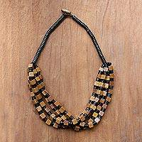 Wood beaded torsade necklace, 'Brown Elegance Squared' - Brown and Black Boxwood Cube Beaded Torsade Necklace