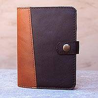 Leather passport wallet, 'Classic Journey in Espresso' - Leather Passport Wallet in Russet and Espresso from Thailand