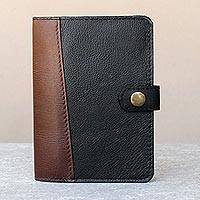 Leather passport wallet, 'Classic Journey in Onyx' - Leather Passport Wallet in Onyx and Mahogany from Thailand