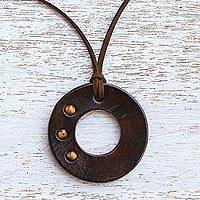 Tiger's eye pendant necklace, 'Lucky Ring' - Handcrafted Tiger's Eye and Leather Necklace from Thailand