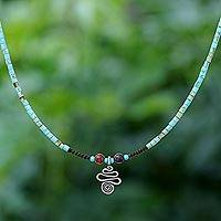 Multi-gemstone pendant necklace, 'Spiral Charm' - Multi-Gemstone Karen Silver Pendant Necklace from Thailand