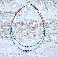 Multi-gemstone beaded necklace, 'Relaxing Delight' - Multi-Gemstone Karen Silver Beaded Necklace from Thailand