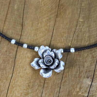 Silver pendant necklace, 'Chiang Mai Petals' - Karen Silver Floral Beaded Pendant Necklace from Thailand