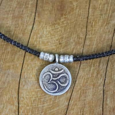 Silver pendant necklace, 'Spiritual Karen' - Karen Silver Om Pendant Necklace from Thailand