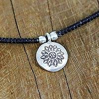 Silver pendant necklace, 'Karen Star Flower' - Karen Silver Floral Pendant Necklace from Thailand