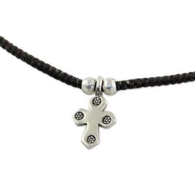 Silver pendant necklace, 'Christian Karen' - Karen Silver Cross Pendant Necklace from Thailand