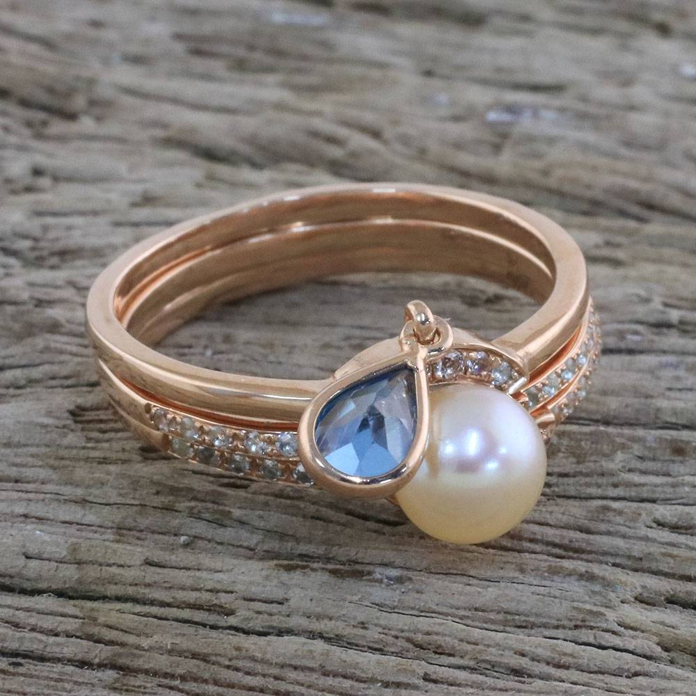 Rose Gold Stacking Rings With Cultured Pearl Set Of 3