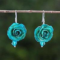 Natural rose dangle earrings, 'Floral Temptation in Green' - Natural Rose Dangle Earrings in Green from Thailand