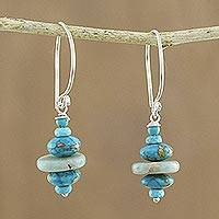 Multi-gemstone beaded dangle earrings, 'Blue Layers' - Multi-Gemstone Blue Dangle Earrings from Thailand