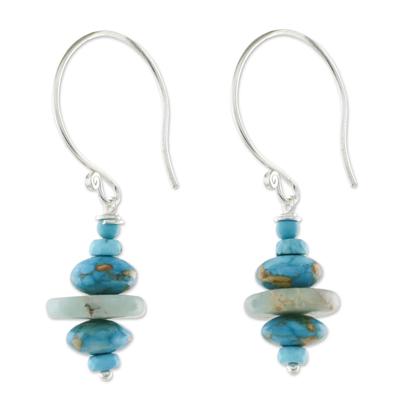 Multi-gemstone beaded dangle earrings, 'Blue Layers' - Multi-Gemstone Blue Dangle Earrings from Thailand