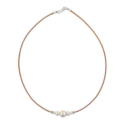 Cultured pearl beaded pendant necklace, 'Snowy Grace' - Cultured Pearl Beaded Pendant Necklace from Thailand