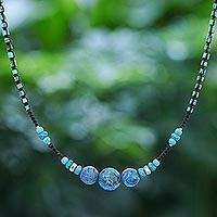 Calcite beaded pendant necklace, 'Charming Waters' - Calcite Beaded Pendant Necklace from Thailand