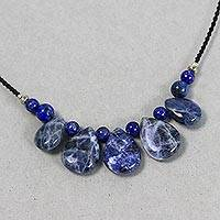 Sodalite and lapis lazuli beaded pendant necklace, 'Blue Veins'
