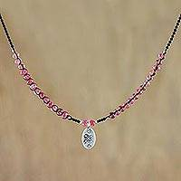 Quartz beaded pendant necklace, 'Red Karen' - Karen Silver and Quartz Pendant Necklace from Thailand