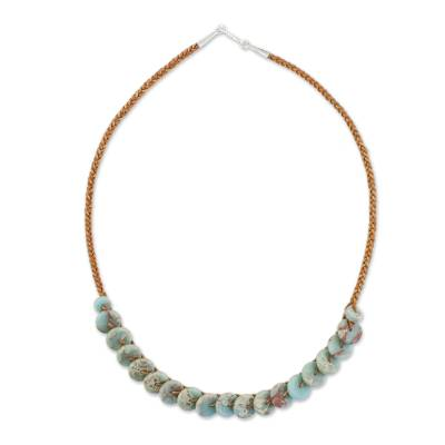 Jasper beaded necklace, 'Exotic Discs' - Jasper and Leather Beaded Necklace from Thailand