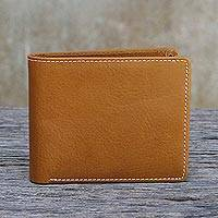 Men's leather wallet, 'Genuine in Saddle Brown' - Men's Saddle Brown Leather Wallet with Contrast Stitching