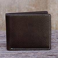 Men's leather wallet, 'Genuine in Dark Brown' - Men's Fair Trade Dark Brown Leather Wallet from Thailand