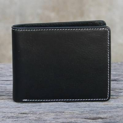 Mens leather wallet, Genuine in Jet Black
