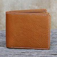 Men's leather wallet, 'Forever in Saddle Brown' - Handcrafted Medium Brown Leather Wallet for Men