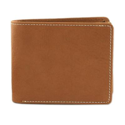 Handcrafted Medium Brown Leather Wallet for Men